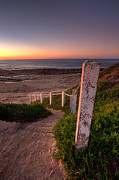 California Seascape Prints - Stairs to Dusk Print by Peter Tellone