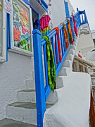 Delos Prints - Stairs with Blue Railing in Mykonos Greece Print by M Bleichner
