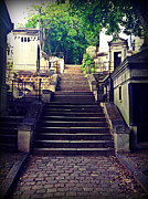 Flight Of Stairs Posters - Stairway Pere Lachaise Cemetery Poster by Michael Stephens