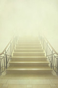Misty Bridge Posters - Stairway To Heaven Poster by Evelina Kremsdorf