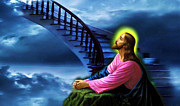 Framed Jesus Posters Framed Prints - Stairway to Heaven Framed Print by Karen Showell