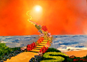 Stairway To Heaven Painting Framed Prints - Stairway to Heaven Framed Print by Michael Rucker