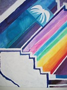 Chakra Rainbow Painting Originals - Stairway to Rainbow Palm by Leonardo Vidal