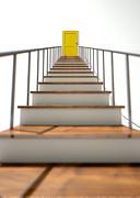 Stairway To Yellow Door Print by Allan Swart