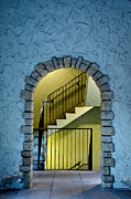 Stone Entrance Framed Prints - Stairwell and Light Framed Print by KM Corcoran