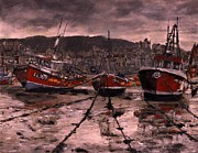 Storm Drawings - Staithes at Low Tide by Randy Sprout