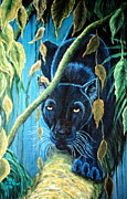 Panther Paintings - Stalking Black Panther by Nick Gustafson