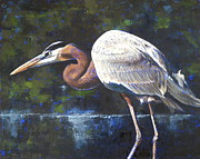 Great Blue Heron Paintings - Stalking by Pam Talley