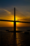 Sunshine Skyway Bridge Prints - Stalking Sunset Print by Rene Triay Photography
