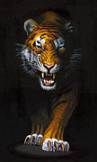 Cat Portraits Posters - Stalking Tiger Poster by MGL Studio