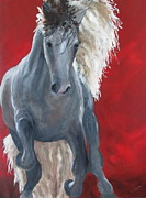 Notecards Painting Prints - Stallion Print by Susan Richardson