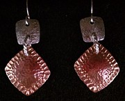 Stamped Jewelry - Stamped Textured Sterling Copper earrings by Dyan  Johnson