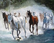 Western Paintings - Stampede by Judy Kay