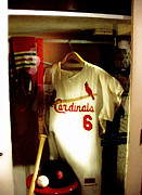 Lithographs Framed Prints - Stan The Mans Locker Stan Musial Framed Print by Iconic Images Art Gallery David Pucciarelli