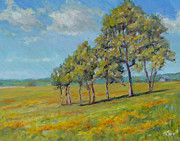 Impressionism Tapestries Textiles Originals - Stand of Trees by Michael Camp
