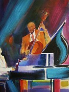 Blues Singers Paintings - Stand Up Bass Man by Therese Fowler-Bailey
