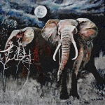 Elephant Painting Posters - Stand Your Ground Poster by Michael Durst
