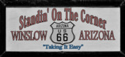 Badge Prints - Standin on a corner in Winslow Arizona Print by Christine Till
