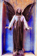 Bible Mixed Media Framed Prints - Standing Angel Framed Print by Tony Rubino