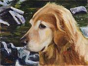 Custom Dog Portrait Paintings - Standing by the River by Billie Colson