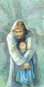 Child Jesus Drawings - Standing Christ With Child  by Nancy Mauerman