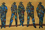 Cowgirl And Cowboy Painting Originals - Standing In The Shadow by Lance Headlee