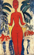 Distorted Framed Prints - Standing Nude Framed Print by Amedeo Modigliani