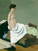 Nudes Art - Standing nude holding a gown on her knee by Felix Edouard Vallotton