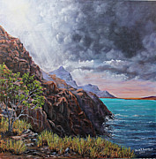 Sun Rays Paintings - Standing on the Solid Rock by Julie Townsend