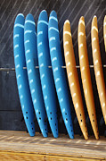 Fiber Framed Prints - Standing Surf boards Framed Print by Carlos Caetano