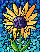 Stones Paintings - Standing Tall - Sunflower Art By Sharon Cummings by Sharon Cummings