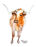 Posters Mixed Media Framed Prints - Stands Alone Longhorn 219 Framed Print by Kathleen McElwaine