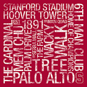 Campus Posters - Stanford College Colors Subway Art Poster by Replay Photos