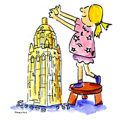 Cartoon Drawings Originals - Stanford Hoover Tower Building Blocks by Diane Thornton