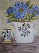 Pottery Pitcher Painting Prints - Stangl Blueberry Pottery Print by Kathy Marrs Chandler