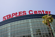 Editorial Framed Prints - Staples Center Sign in Los Angeles California Framed Print by Paul Velgos
