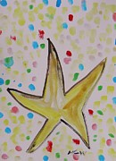 Star Drawings Framed Prints - Star Amongst the Sea Glass Framed Print by Mary Carol Williams