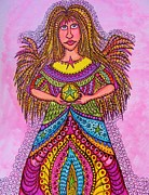 Little Girls Mixed Media Prints - Star Angel Print by Gerri Rowan