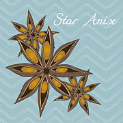 Star Digital Art Posters - Star Anise Art Poster by Christy Beckwith