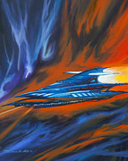 Planet System Paintings - Star Cruiser by James Christopher Hill