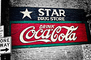 One Way Prints - Star Drug Store Wall Sign Print by Scott Pellegrin