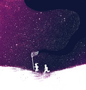 Dream Digital Art Posters - Star field purple Poster by Budi Satria Kwan
