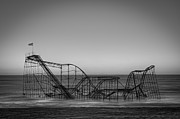 Star Jet Roller Coaster Bw Print by Michael Ver Sprill