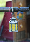Dew Drops Photos - Star Lantern on Narrowboat Tiller by Tim Gainey