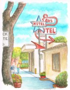 Acuarela Framed Prints - Star Motel in Lompoc - California Framed Print by Carlos G Groppa