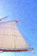 Ropes Digital Art Prints - Star of India. Flag And Sail Print by Ben and Raisa Gertsberg