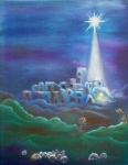 Star Of Bethlehem Painting Prints - Star over Bethlehem-Holy Night Print by Melanie Palmer