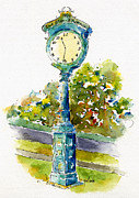 Streetscape Paintings - Star Phoenix Clock Tower by Pat Katz