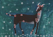Zodiac Paintings - Star Sign Capricorn by Sushila Burgess