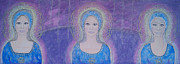 Spiritual Portrait Of Woman Paintings - Star Sisters by Lila Violet